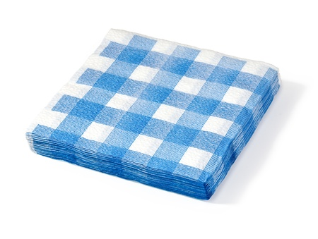 stack of white napkin in a blue cage of isolation on a white background