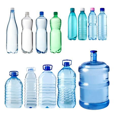 Photo pour set of water bottles isolated on white background - image libre de droit