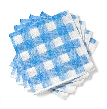 stack of white napkin in a blue cage of isolation on a white background  with clipping path