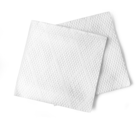 Blank paper napkin isolated on white background