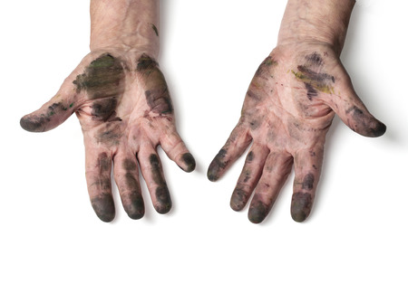 Photo pour man with dirty hands isolated on white  - image libre de droit