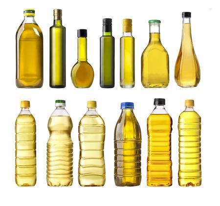 Photo pour Olive oil bottles isolated on white - image libre de droit