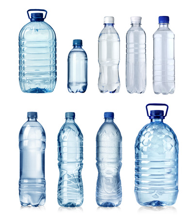 Photo pour Collage of water bottles isolated on a white background - image libre de droit