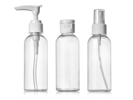 Photo for Plastic Clean Three blank bottles With Dispenser Pump on white background - Royalty Free Image