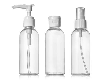 Photo pour Plastic Clean Three blank bottles With Dispenser Pump on white background - image libre de droit