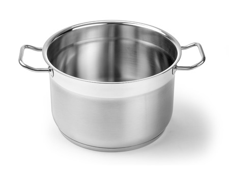 Stainless steel pot without cover. Isolated on white background with clipping path