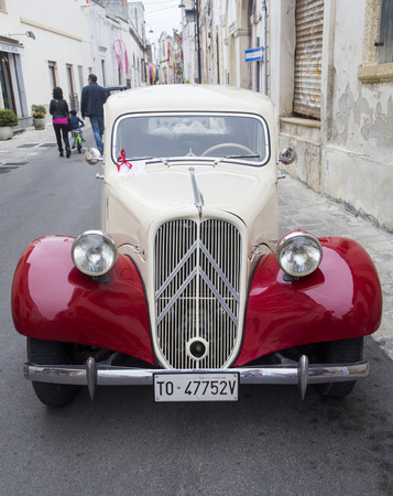 PUGLIA, ITALY-  MAY 02.2015.  Exhibition of old cars. vintage car Citroen Traction Avant 11BL (1939)
