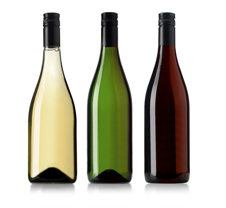 Photo pour Set of white, rose, and red wine bottles. isolated on white background - image libre de droit