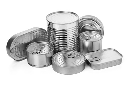 metal cans on a white background.with clipping path