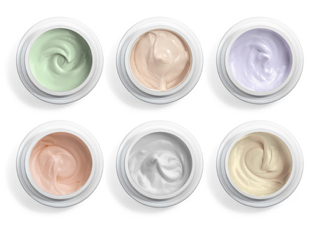 Foto de close up of  beauty cream or yogurt on white background - Imagen libre de derechos