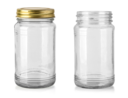 Photo pour Empty glass jar isolated on white with clipping path - image libre de droit
