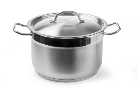 Photo for stainless steel cooking pot isolated on white with clipping path - Royalty Free Image