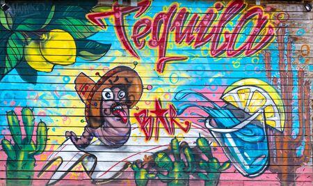 Veliko Tirnovo, Bulgaria June 16, 2018:Graffiti on the fence of bar,  Veliko Tirnovo, Bulgaria