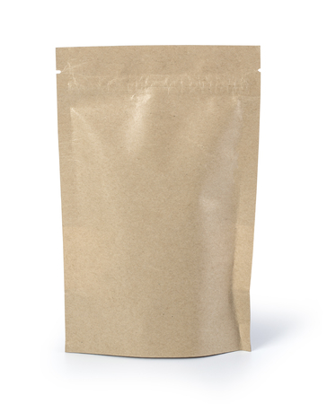 Photo pour Brown paper food bag packaging with valve and seal - image libre de droit
