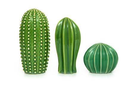Photo pour Trendy cactus shaped vases on table against white background Creative decor. - image libre de droit