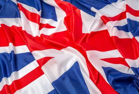 Photo pour Closeup of ruffled British flag - fabric background - image libre de droit