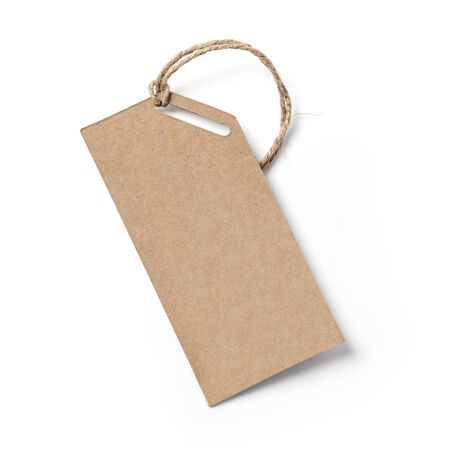 Photo pour Blank tag tied with string. Price tag, gift tag, sale tag, address label - image libre de droit