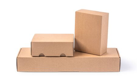 Photo for closing a stack of cardboard boxes on a white background with clipping path - Royalty Free Image