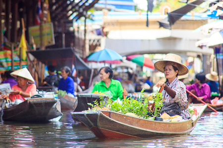 Famous Floating Market in Thailand  Damnoen Saduak near Bangkok