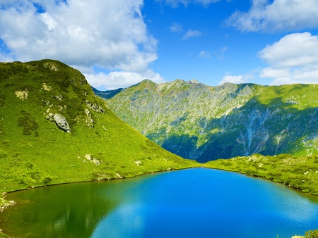 Landscape with a large lake in the Caucasus Mountains