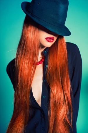 Fashion portrait of sexy woman in Hat
