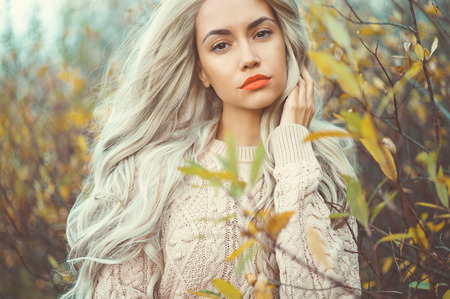 Foto per Outdoor fashion photo of young beautiful lady surrounded autumn leaves - Immagine Royalty Free