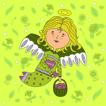 design greeting cards for Valentine's day. sweet girl angel with outspread wings, with a basket of hearts in his hand. floral background. vector.