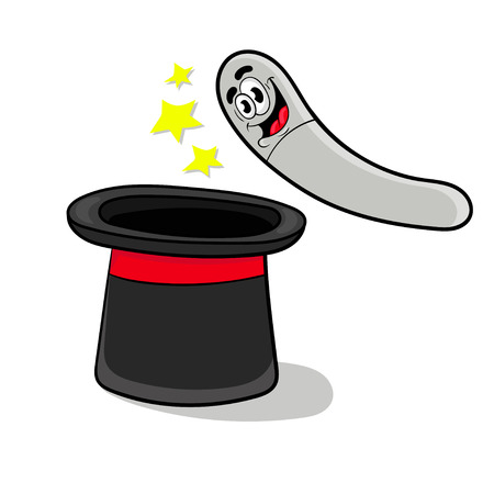 cartoon trick pulling out of a hat , vector illustration