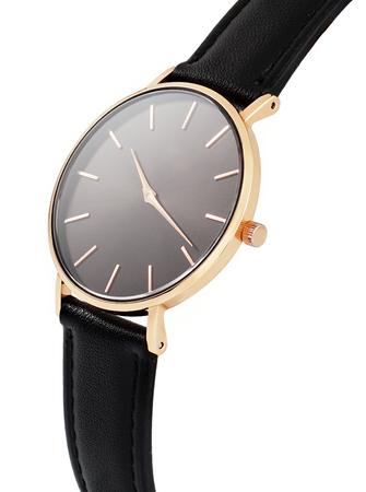 Photo pour Classic women's gold watch with a black dial, leather strap, isolate on a white background. Isometric view. - image libre de droit