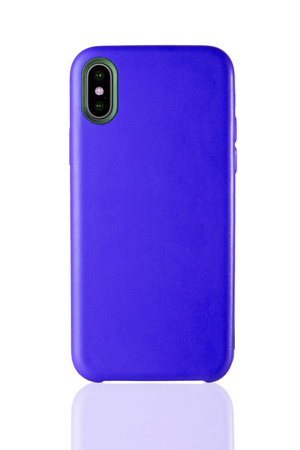Photo pour Blue phone leather case on white isolated - image libre de droit