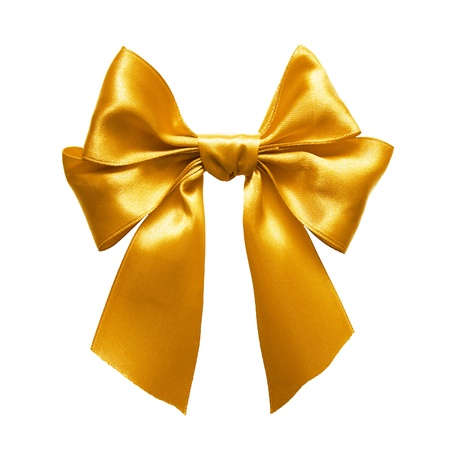 Gold satin gift bow. Ribbon. Isolated on white