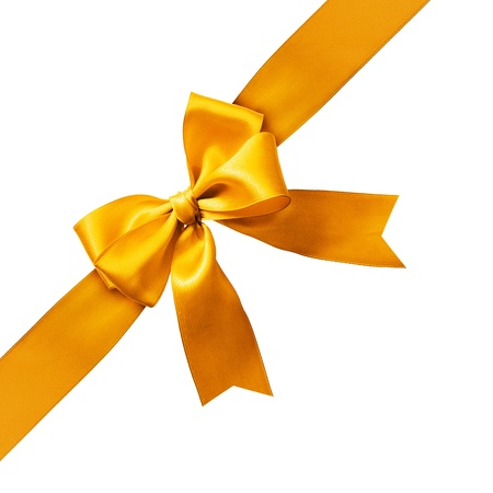 Big gold holiday bow on white background