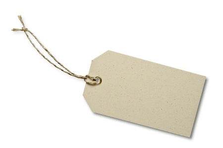 Blank tag tied with string. Price tag, gift tag, sale tag, address label