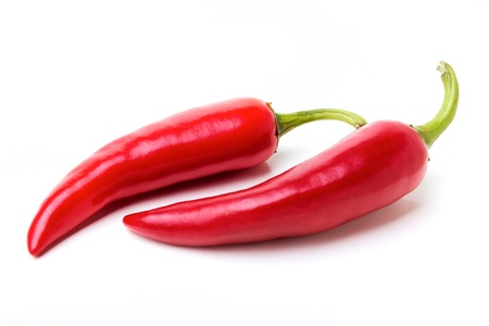 Red chili peppers isolated on the white