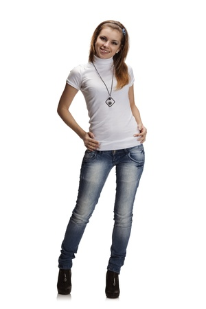 Photo pour Full-length portrait of beautiful girl in jeans and white t-shirt - image libre de droit
