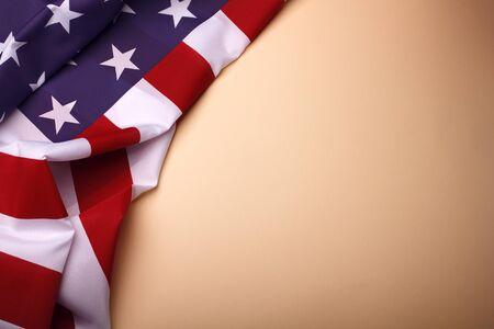 Photo pour Closeup of American flag on plain background. USA Memorial Day. - image libre de droit