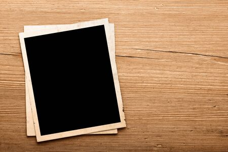 Photo for Vintage photos on old wood background - Royalty Free Image