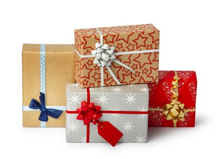 Photo for Set of colorful gift box isolated on white background. Path included. - Royalty Free Image