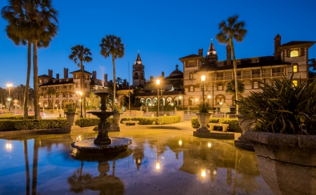 View of the Flagler College facade in St  Augustine, Florida, at dusk   This building is a National Landmark and used to be the exclusive Ponce de Leon Hotel, built by Henry M  Flagler