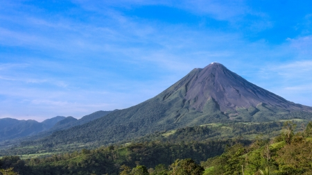 View of the Arenal Volcano in the province of Alajuela in Costa Rica