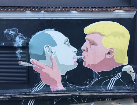 Graffiti Kiss of Donald Trump and Vladimir Putin