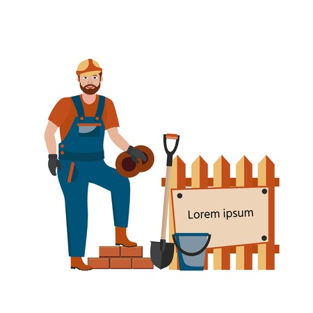 Illustration for Builder in hard hat and a uniform on construction site with and shovel. Vector illustration cartoon character. - Royalty Free Image