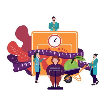 Illustration for Fat obese woman on scales and doctor showing obesity deseases.  Flat tiny persons concept diet chart. Obesity health problem. Overweight treatment concept. - Royalty Free Image