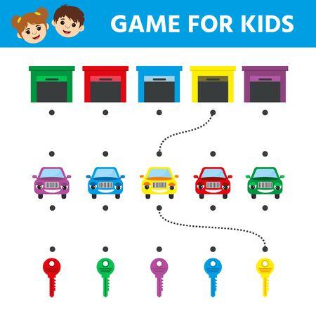Illustration pour Children game for children. Labyrinth. Cartoon cars. Help the car get to the finish line. Education developing worksheet. Vector illustration - image libre de droit