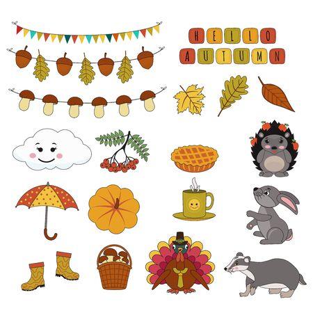 Illustration pour Set of cute autumn stickers. Turkey,  umbrella,  hedgehog,  badger, umbrella, hare, pumpkin, garland mushrooms, leaves. Vector cartoon illustration can use for kids decor, print, card, sticker kit - image libre de droit