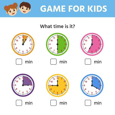Illustration pour Game for children. Educational worksheet for preschool kids. Puzzle with clock and numbers. What time is it? Vector illustration - image libre de droit