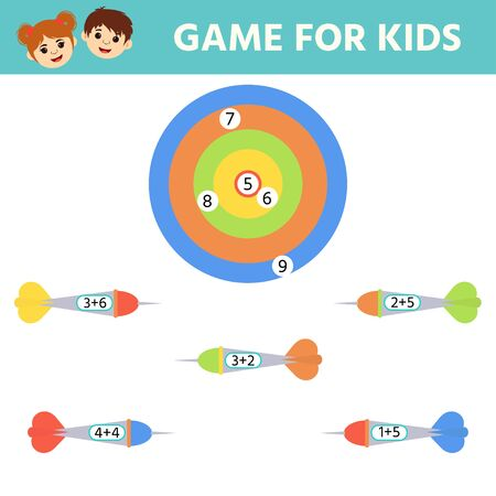Education logic game for preschool kids. Kids activity sheet. Match of hit the target. Solve an example. Children funny riddle entertainment.