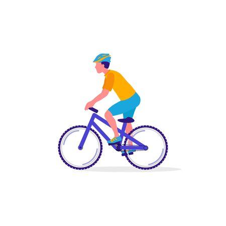 Illustration pour Cyclist on bicycle.  Sport, Leisure Activity concept. Healthy lifestyle and fitness. Vector Illustration - image libre de droit