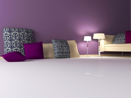 elegance interior design of modern violet living room, 3d render