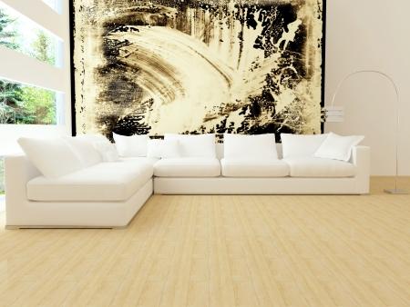 Photo pour interior design of modern white living room with big white sofa, big lounge, 3d render - image libre de droit